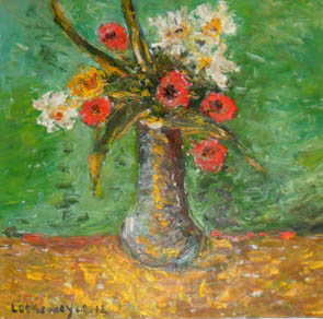 The Artist Adalberto Lütkemeyer, Rosas e margaridas-óleo- 65x67 cm. Price USD ask