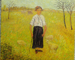 The Artist Adalberto Lütkemeyer, Guardadora de vacas-óleo-76x90 cm. Price USD 1080