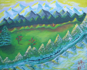 Landscape, acrylic on canvas 50/40 cm., Price: ask