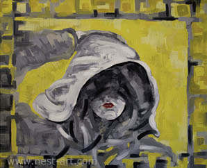 The artist Margarita Dragiev, Black look with touch of Yellow, 60/50cm, oil on canvas, Price: EUR 1400