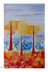 "The artist Ms. Milena Milusheva,  ""Mars I"", 61 x 38 cm. Oil, 1 125 Price EURO 1 125"