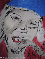 Paka Traykova,Full Face - Tempera on paper 35/50 cm. Price EUR 1116