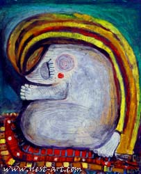 Prayer, 46/55 cm. oil pastel on paper, 150 EUR