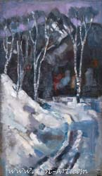 The winter road, 100/70cm. oil on canvas 800 EUR