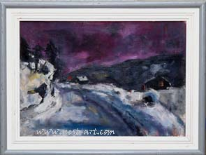 Winter Landschaft, 35/50 cm. Oil, 450 EUR