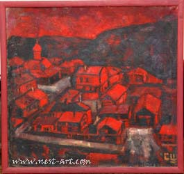Landschaft in Rot, 65/65 cm. Oil, 400 EUR