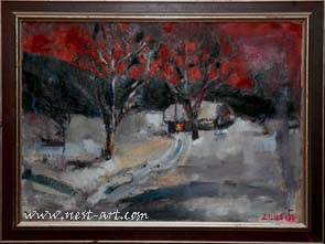 Winter evening, 50/70,cm. oil on canvas, 600 EUR
