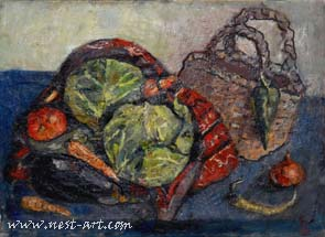 Still life with cabbage, 50/70 cm. oil on canvas, 300 EUR